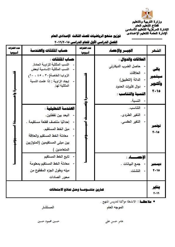 توزيع منهج الرياضيات للصف الثالث الاعدادى 2018 2019 للترم الاول